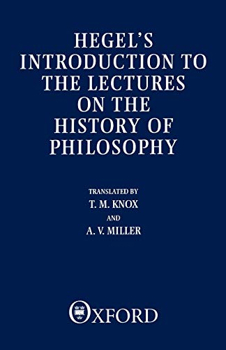 9780198249917: Introduction to the Lectures on the History of Philosophy