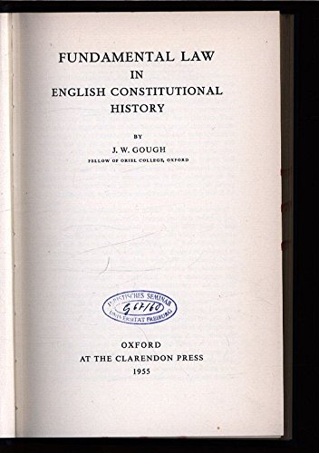 9780198271154: Fundamental Law in English Constitutional History