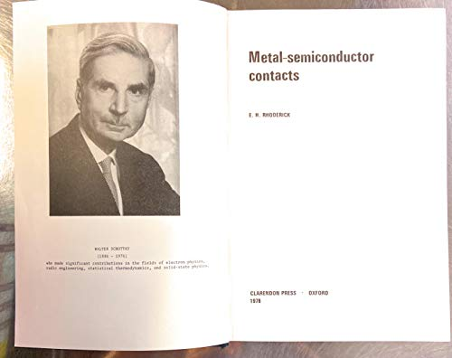 9780198593232: Metal-semiconductor Contacts (Electrical & Electronic Engineering Monographs)