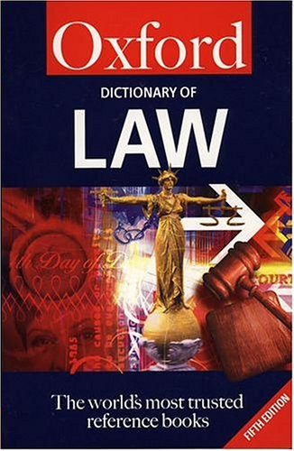 9780198603993: A Dictionary of Law (Oxford Paperback Reference)