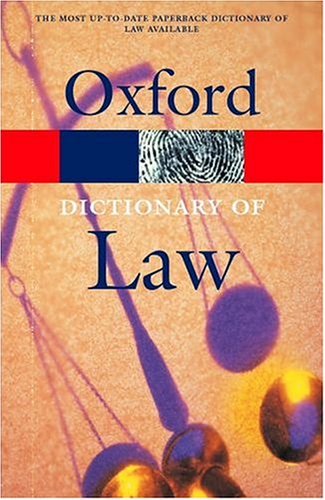 9780198607564: A Dictionary of Law (Oxford Paperback Reference)