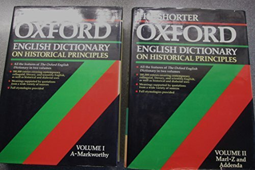 9780198611264: The Shorter Oxford English Dictionary on historical principles (2 Volume Set)