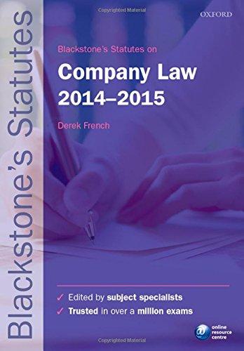 9780198709466: Blackstone's Statutes on Company Law 2014-2015 (Blackstone's Statute Series)