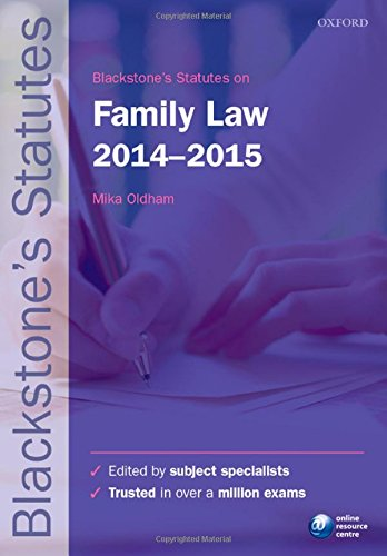 9780198709480: Blackstone's Statutes on Family Law 2014-2015 (Blackstone's Statute Series)