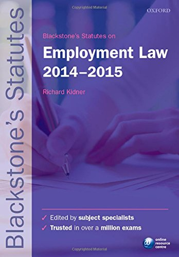 9780198709497: Blackstone's Statutes on Employment Law 2014-2015 (Blackstone's Statute Series)