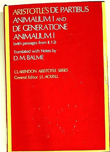 9780198720584: Parts of Animals: Bk. 1 (Clarendon Aristotle series)