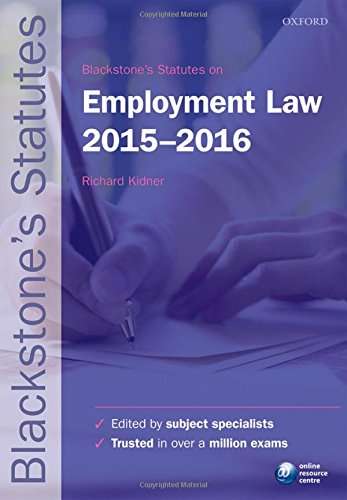 9780198736028: Blackstone's Statutes on Employment Law 2015- 2016 (Blackstone's Statute Series)