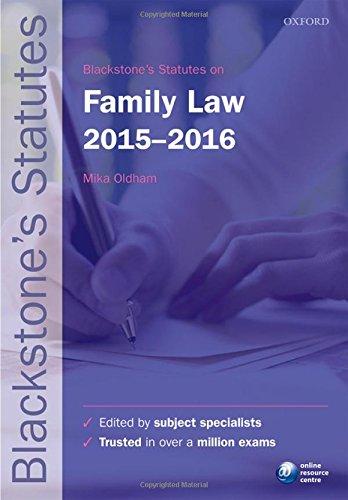 9780198736035: Blackstone's Statutes on Family Law 2015-2016 (Blackstone's Statute Series)