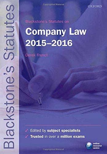 9780198736073: Blackstone's Statutes on Company Law 2015-2016 (Blackstone's Statute Series)