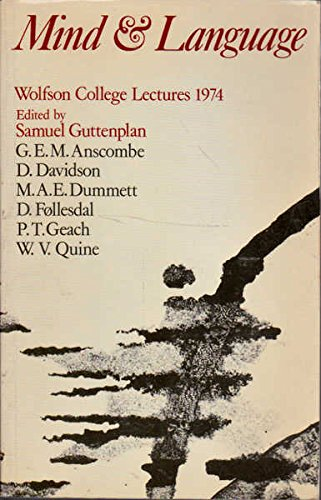 9780198750437: Mind and Language: Wolfson College Lectures 1974