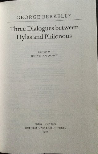 9780198751489: Three Dialogues Between Hylas and Philonous (Oxford Philosphical Texts)