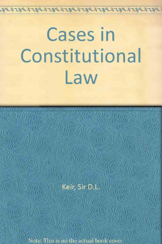 9780198760658: Cases in Constitutional Law