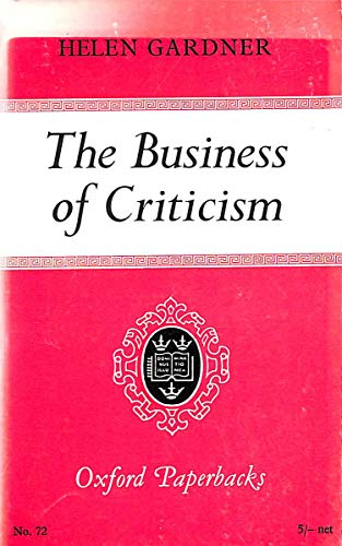9780198810728: Business of Criticism (Oxford Paperbacks)