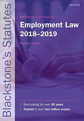 9780198818472: Blackstone's Statutes on Employment Law 2018-2019 (Blackstone's Statute Series)