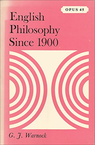 9780198880455: English Philosophy Since 1900 (Opus Books)