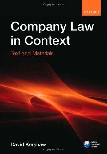 9780199215942: Company law in context: Text and materials