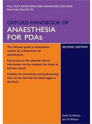 9780199227174: Oxford Handbook of Anaesthesia for PDAs (Oxford Medical Handbooks)