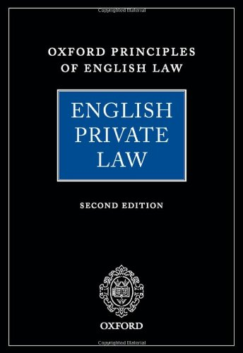 9780199227945: English Private Law (Oxford Principles of English Law)