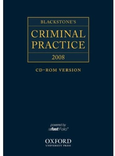 Blackstone's Criminal Practice 2008 CD-ROM (9780199228157) by Ormerod, David; The Right Honourable Lord Justice Hooper