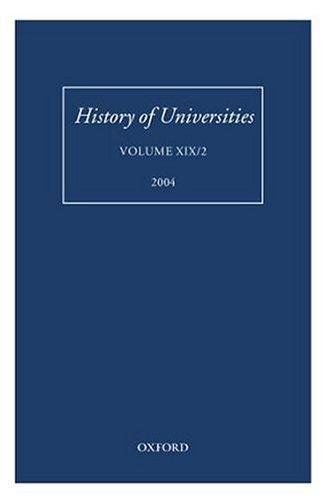 9780199276097: History of Universities: Volume XIX/2
