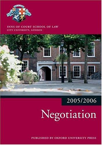 9780199281541: Bar Manual: Negotiation 2005/6 (Blackstone Bar Manual)