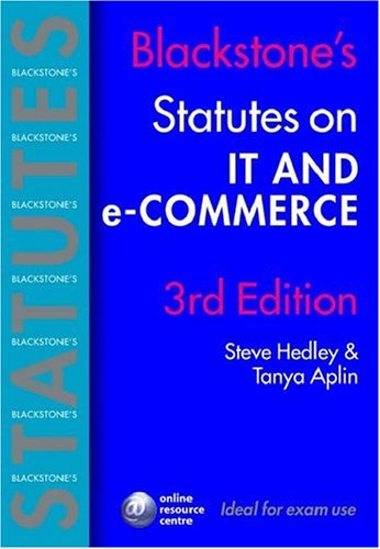 9780199288298: Blackstone's Statutes on IT and e-Commerce (Blackstone's Statute Book)
