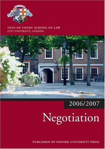 9780199289530: Negotiation 2006-07 (Blackstone Bar Manual)