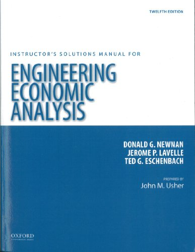9780199339297: Engineering Economic Analysis 12th Edition. (Instructor's Solutions Manual)