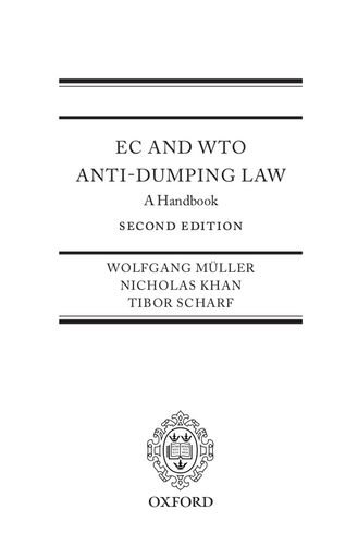 9780199565313: EC and WTO Anti-Dumping Law: A Handbook