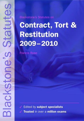 9780199569212: Blackstone's Statutes on Contract, Tort and Restitution 2009-2010 (Blackstone's Statute Series)