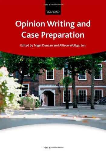 9780199591848: Opinion Writing and Case Preparation (Bar Manuals)