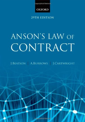 9780199593330: Anson's Law of Contract