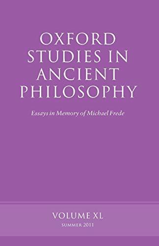 9780199609666: OXF STUDIES ANCIENT PHILOSOPHY VOL 40 P: Volume 40 (Oxford Studies in Ancient Philosophy)