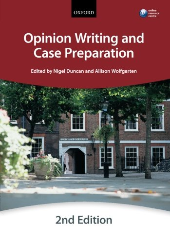 9780199657353: Opinion Writing and Case Preparation (Bar Manuals)