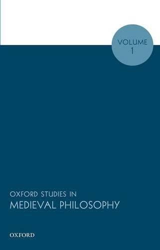9780199661848: Oxford Studies in Medieval Philosophy: Volume 1