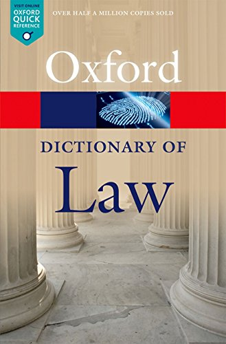 9780199664924: A Dictionary of Law (Oxford Quick Reference)