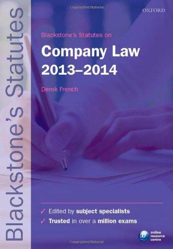 9780199678600: Blackstone's Statutes on Company Law 2013-2014