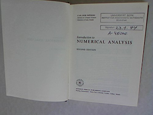 9780201020960: Introduction to Numerical Analysis
