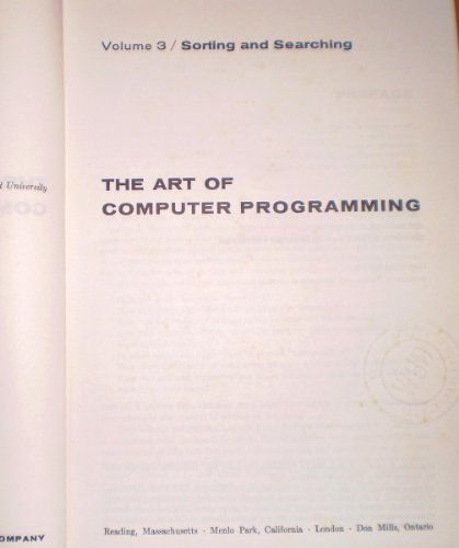 The Art of Computer Programming: Sorting and: Donald E. Knuth