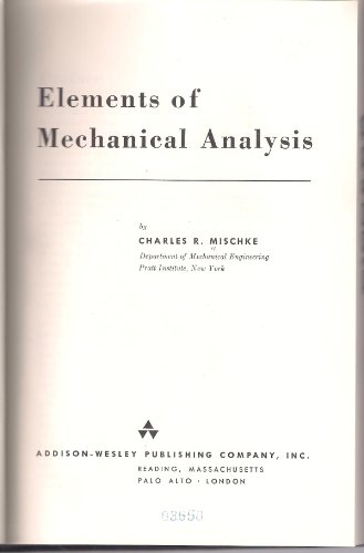 9780201047509: Elements of Mechanical Analysis