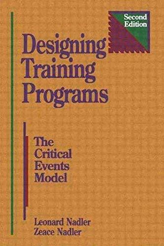 Designing Training Programmes: The Critical Events Model: Nadler, Leonard