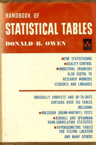 9780201055504: Handbook of Statistical Tables (Addison-Wesley Series in Statistics)