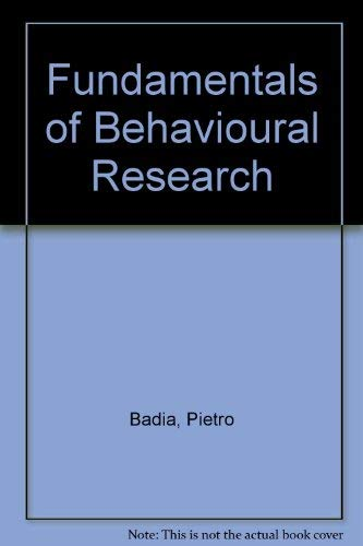 9780201063783: Fundamentals of Behavioural Research