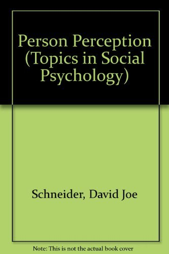 9780201067682: Person Perception (Topics in Social Psychology)