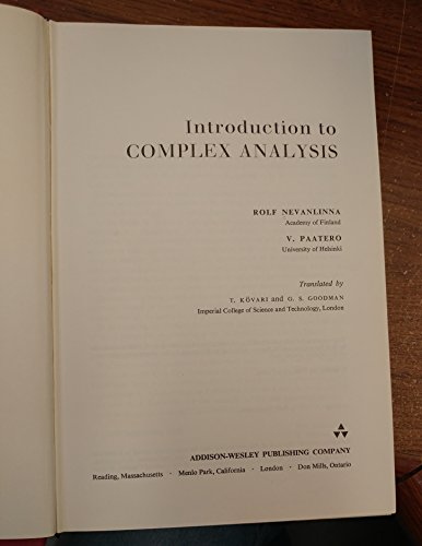9780201345667: Introduction to Complex Analysis