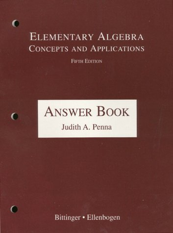 9780201444605: Elementary Algebra: Concepts and Applications : Answer Book