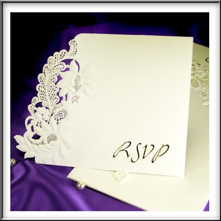 9780201482300: Floral Embossed RSVP Wedding Cards To Matches Our Floral Embossed Range Inc Envelopes x Pack of 10