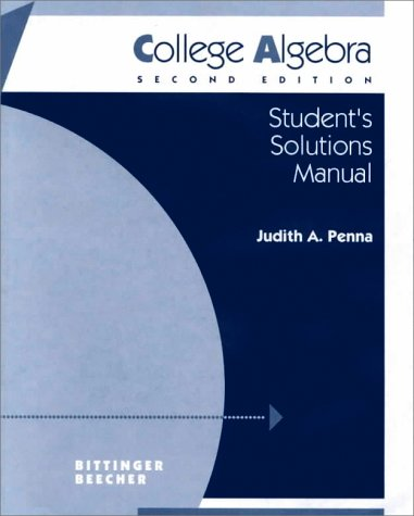 9780201525854: Student Solutions Manual for College Algebra
