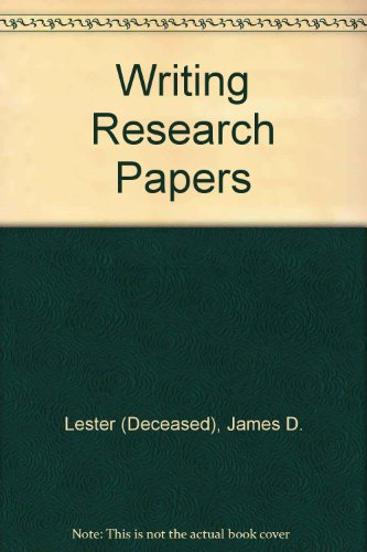 writing research papers lester 12th edition Buy writing research papers (perfect bound) (12th edition) 12th by lester, james d, lester, jim d (2006) paperback by (isbn: ) from amazon's book store everyday.