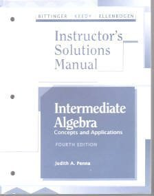 9780201537871: Intermediate Algebra Instructor's Solutions Manual concepts and applications
